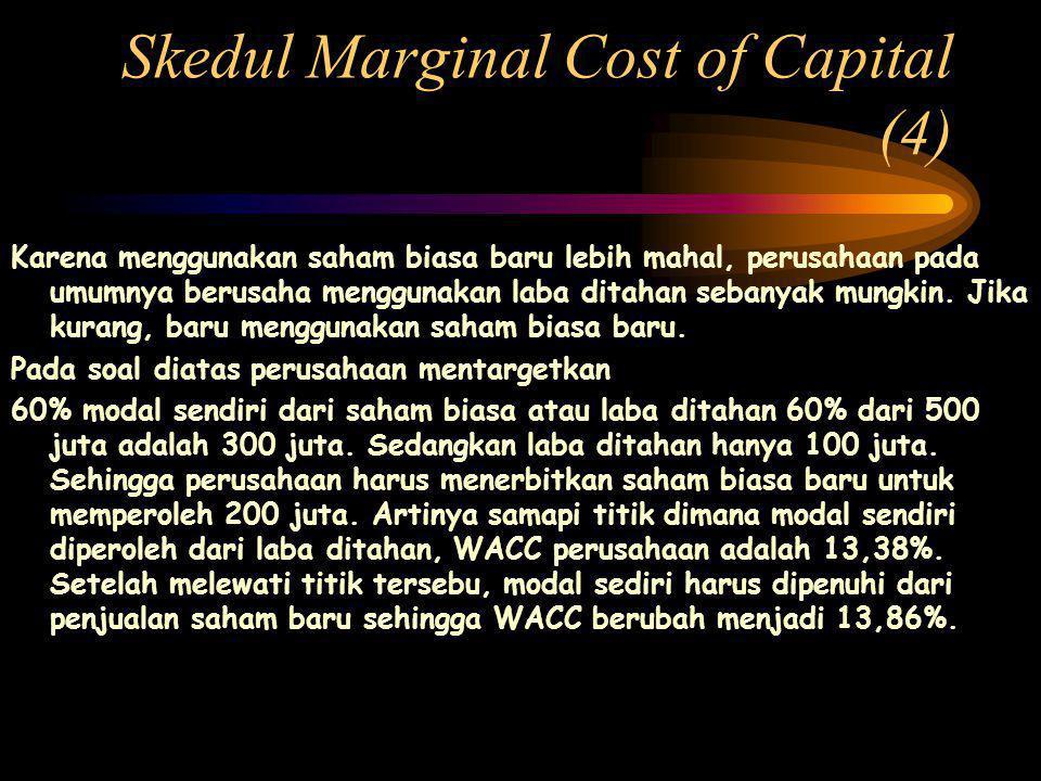 Skedul Marginal Cost of Capital (4) Karena menggunakan saham biasa baru lebih mahal, perusahaan pada umumnya berusaha menggunakan laba ditahan sebanyak mungkin.