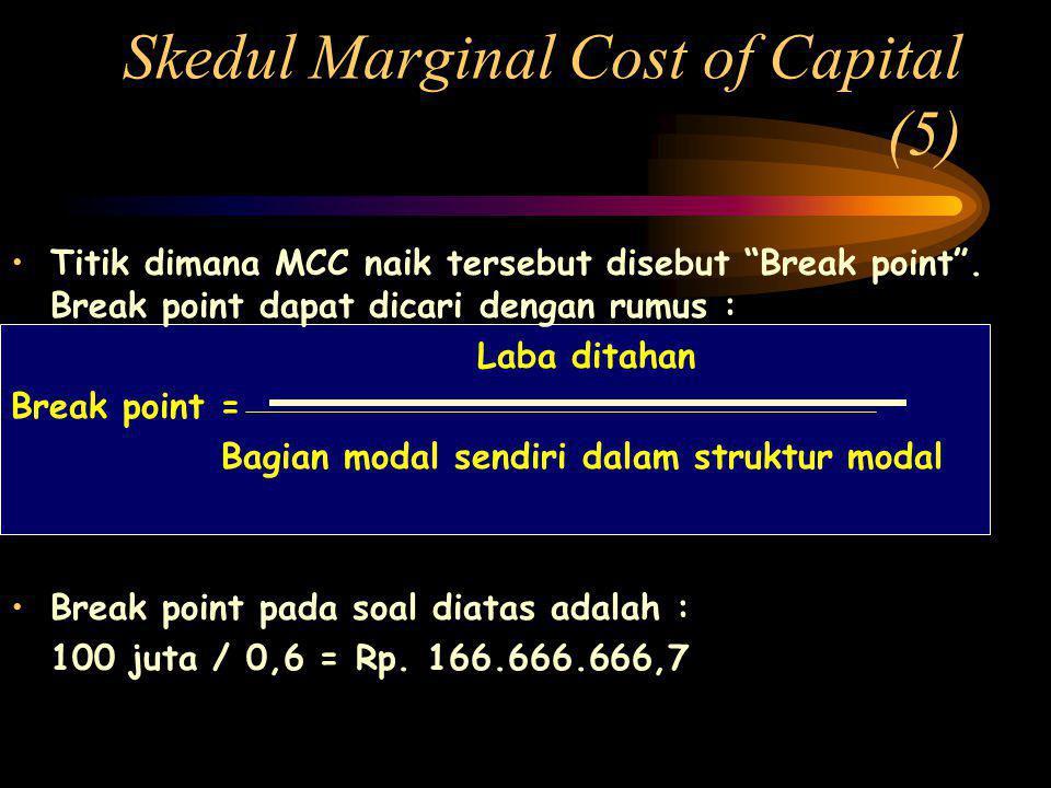 Skedul Marginal Cost of Capital (5) •Titik dimana MCC naik tersebut disebut Break point .