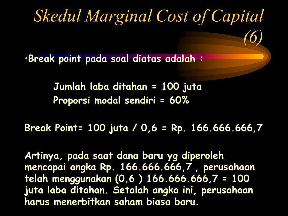 Skedul Marginal Cost of Capital (6) •Break point pada soal diatas adalah : Jumlah laba ditahan = 100 juta Proporsi modal sendiri = 60% Break Point= 100 juta / 0,6 = Rp.