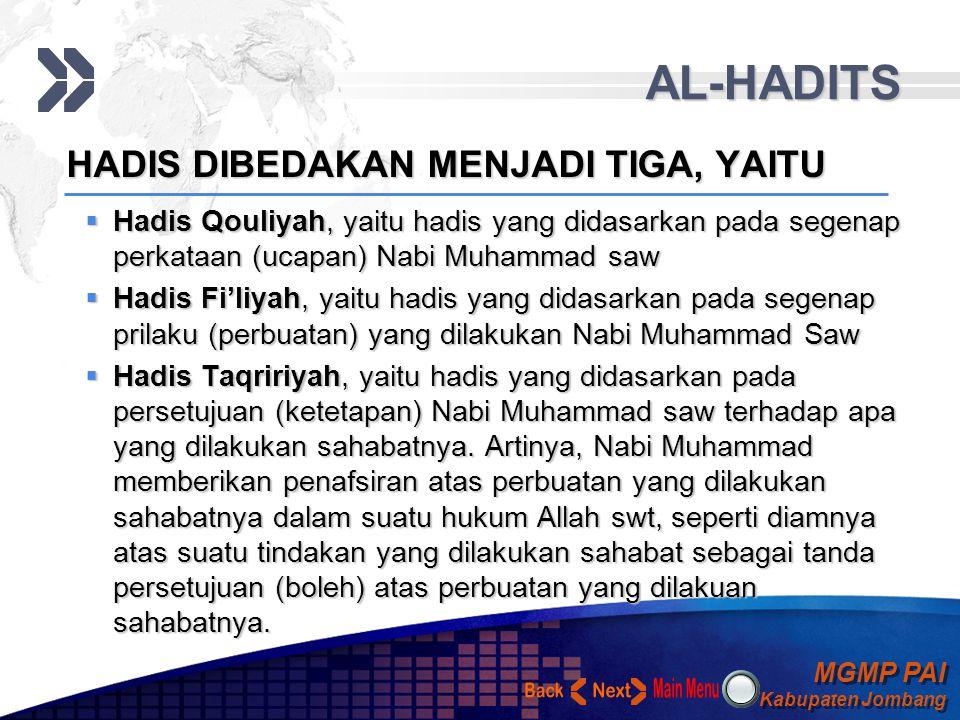 MGMP PAI Kabupaten Jombang MGMP PAI Kabupaten Jombang Your Text AL-HADITS Nabi Muhammad Saw Menurut bahasa Hadis berarti baru atau kabar, Sedangkan me