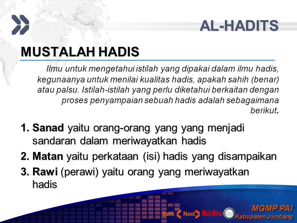 MGMP PAI Kabupaten Jombang MGMP PAI Kabupaten Jombang Your Text AL-HADITS FUNGSI HADIS 1.Sebagai penguat atau pengukuh hukum yang telah disebutkan dal