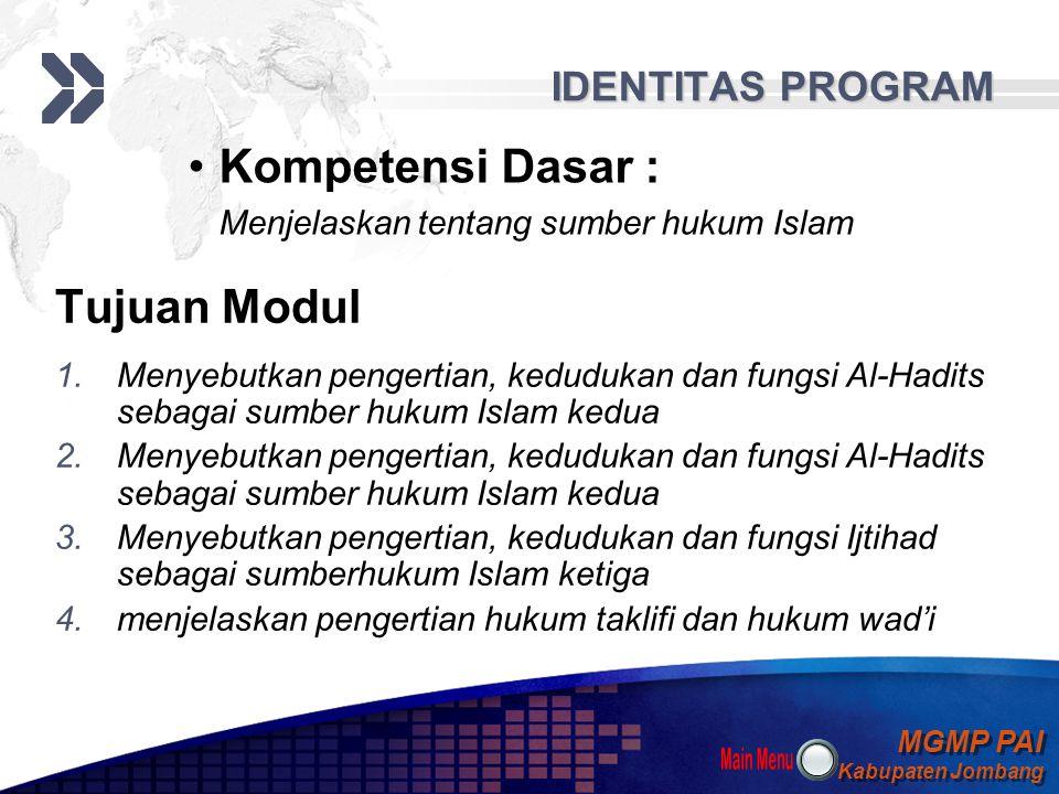 MGMP PAI Kabupaten Jombang MGMP PAI Kabupaten Jombang Your Text Main Menu Identitas Program 1 Peta Konsep 2 Materi Belajar 3 Latihan dan Tugas 4