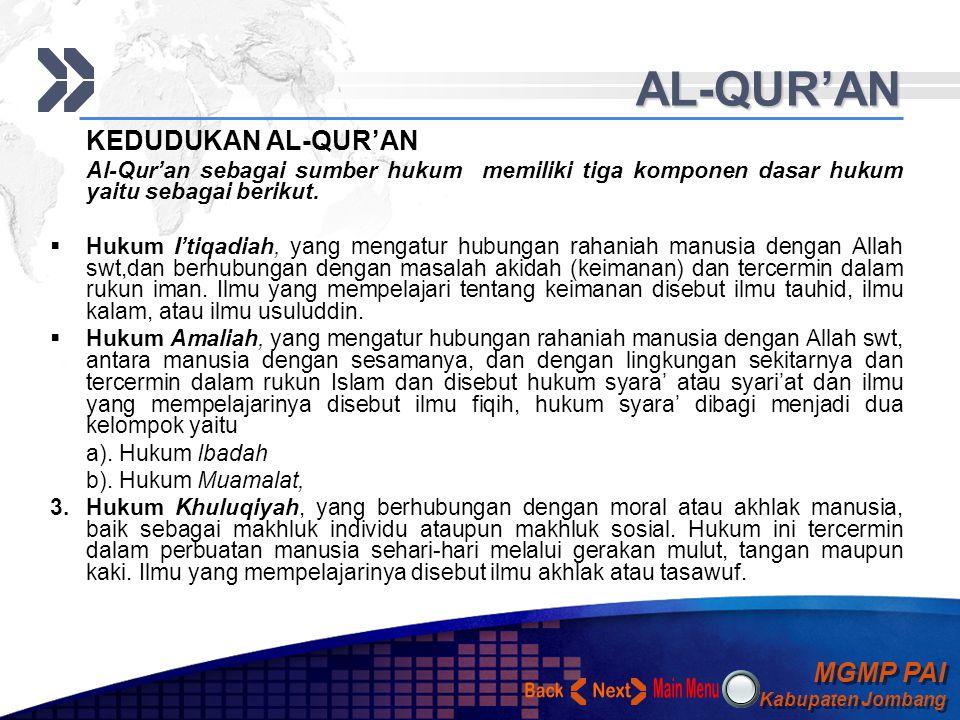 MGMP PAI Kabupaten Jombang MGMP PAI Kabupaten Jombang Your Text AL-QUR'AN KEDUDUKAN AL-QUR'AN Al-Qur'an sebagai sumber hukum memiliki tiga komponen dasar hukum yaitu sebagai berikut.