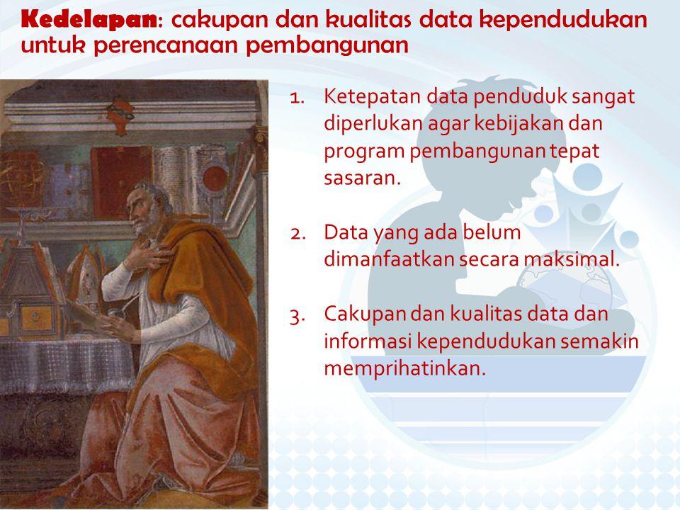 Kedelapan: cakupan dan kualitas data kependudukan untuk perencanaan pembangunan 1.Ketepatan data penduduk sangat diperlukan agar kebijakan dan program pembangunan tepat sasaran.