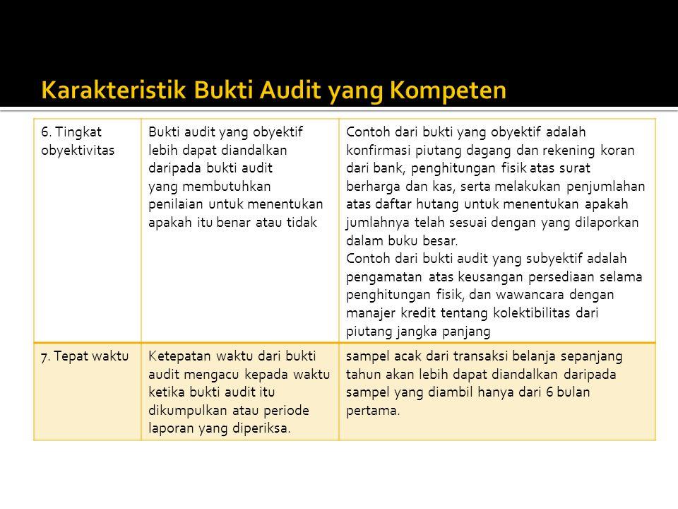 6. Tingkat obyektivitas Bukti audit yang obyektif lebih dapat diandalkan daripada bukti audit yang membutuhkan penilaian untuk menentukan apakah itu b