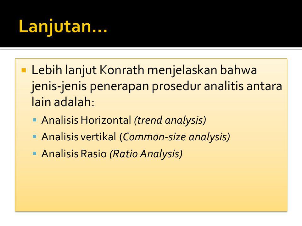  Lebih lanjut Konrath menjelaskan bahwa jenis-jenis penerapan prosedur analitis antara lain adalah:  Analisis Horizontal (trend analysis)  Analisis