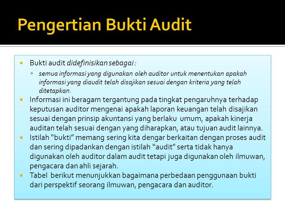  Bukti audit didefinisikan sebagai :  semua informasi yang digunakan oleh auditor untuk menentukan apakah informasi yang diaudit telah disajikan ses