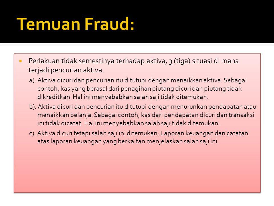  Perlakuan tidak semestinya terhadap aktiva, 3 (tiga) situasi di mana terjadi pencurian aktiva. a). Aktiva dicuri dan pencurian itu ditutupi dengan m
