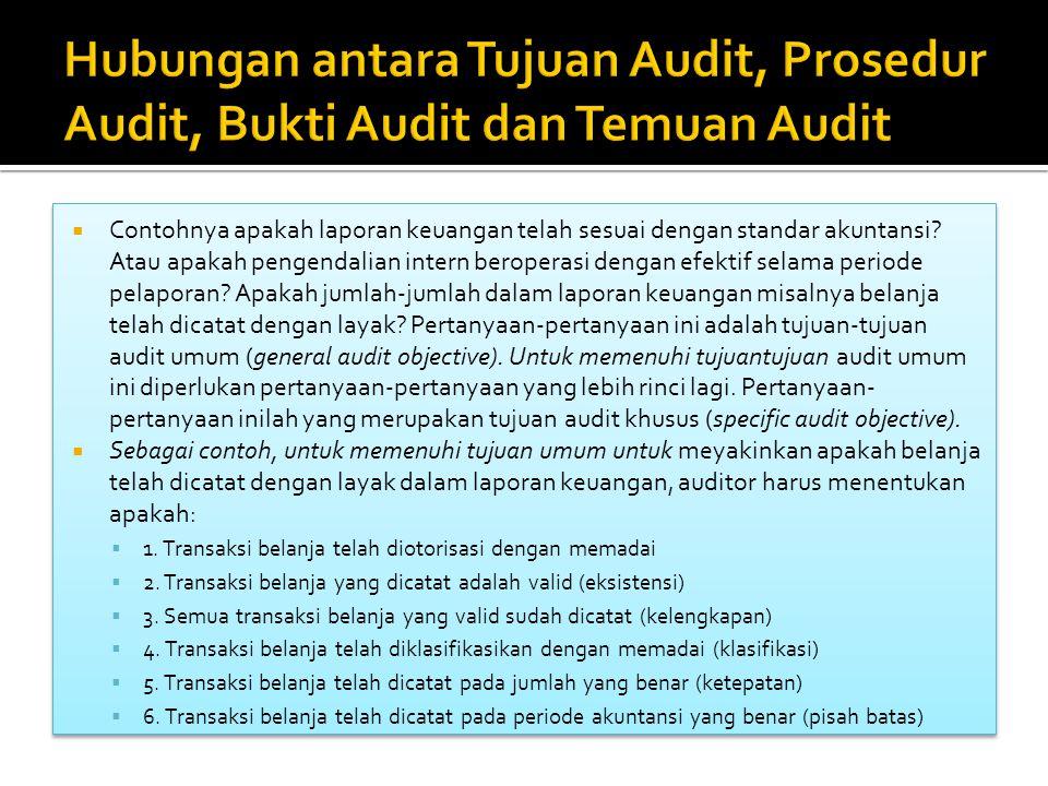  Contohnya apakah laporan keuangan telah sesuai dengan standar akuntansi? Atau apakah pengendalian intern beroperasi dengan efektif selama periode pe