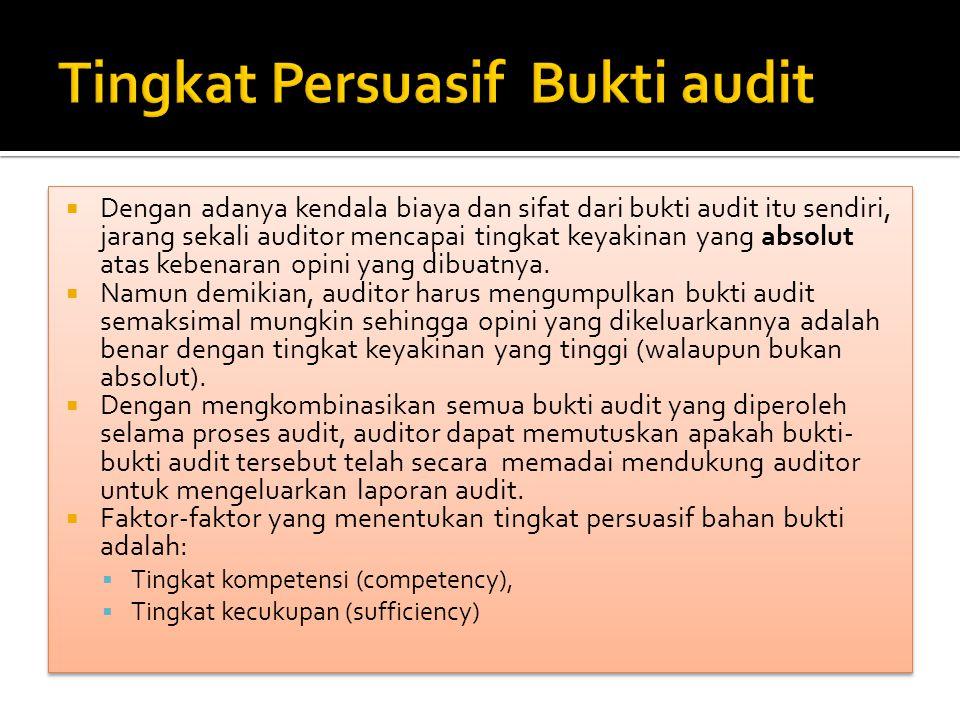  Dengan adanya kendala biaya dan sifat dari bukti audit itu sendiri, jarang sekali auditor mencapai tingkat keyakinan yang absolut atas kebenaran opi