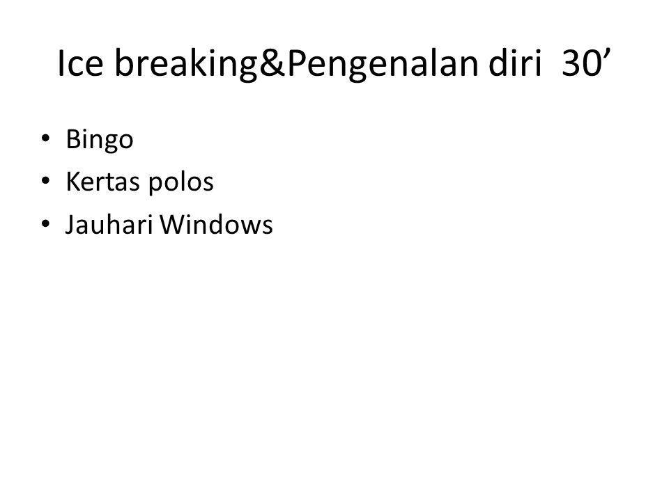 Ice breaking&Pengenalan diri 30' • Bingo • Kertas polos • Jauhari Windows