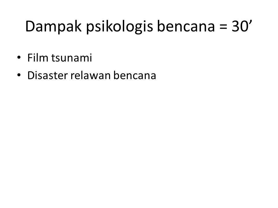 Dampak psikologis bencana = 30' • Film tsunami • Disaster relawan bencana