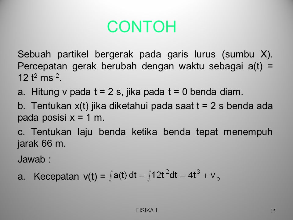 FISIKA I 15 CONTOH Sebuah partikel bergerak pada garis lurus (sumbu X).
