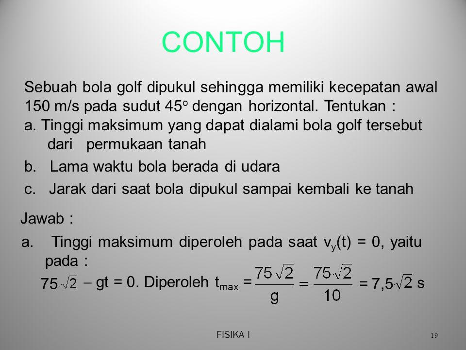 FISIKA I 19 CONTOH a.Tinggi maksimum yang dapat dialami bola golf tersebut dari permukaan tanah b.