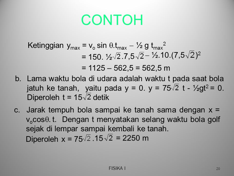 FISIKA I 20 CONTOH c.Jarak tempuh bola sampai ke tanah sama dengan x = v o cos .