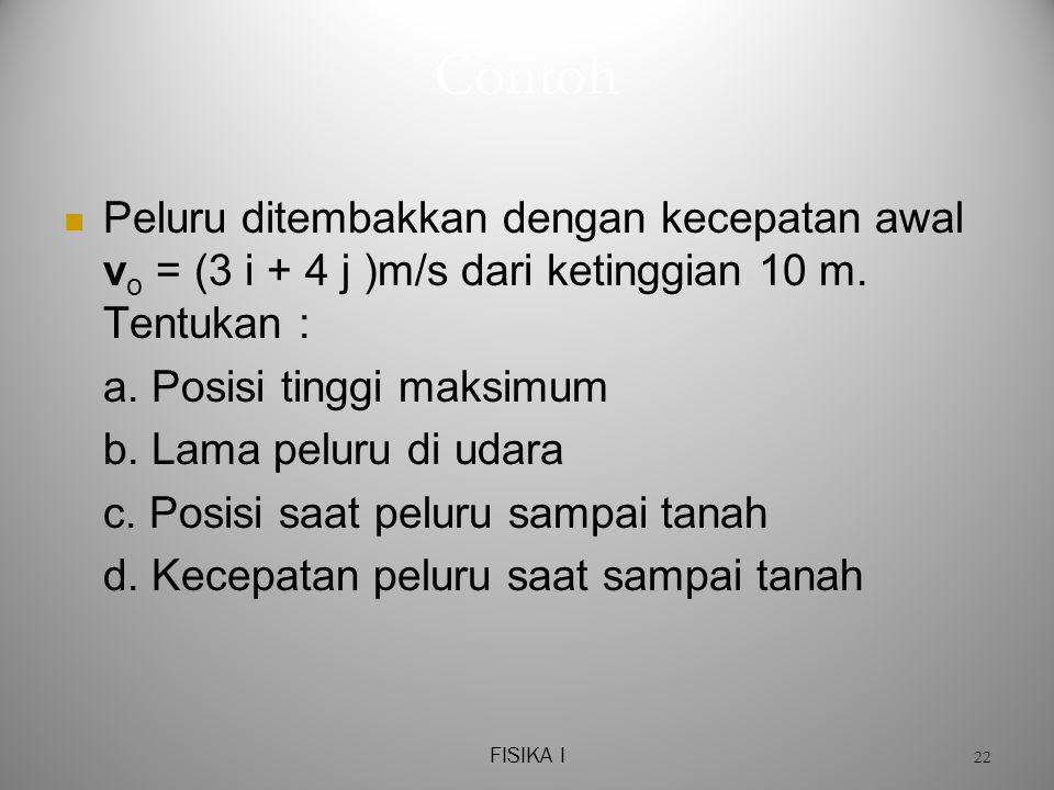 FISIKA I 22 Contoh  Peluru ditembakkan dengan kecepatan awal v o = (3 i + 4 j )m/s dari ketinggian 10 m.