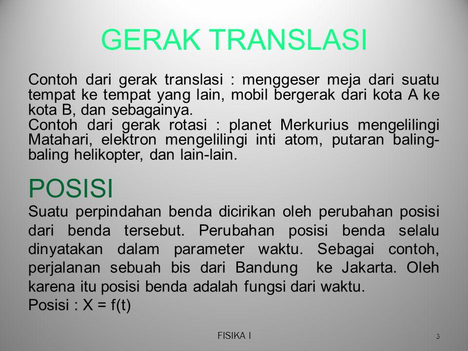 FISIKA I 4 GERAK TRANSLASI Gambar di bawah ini menyatakan kordinat dari posisi bis pada waktu tertentu.