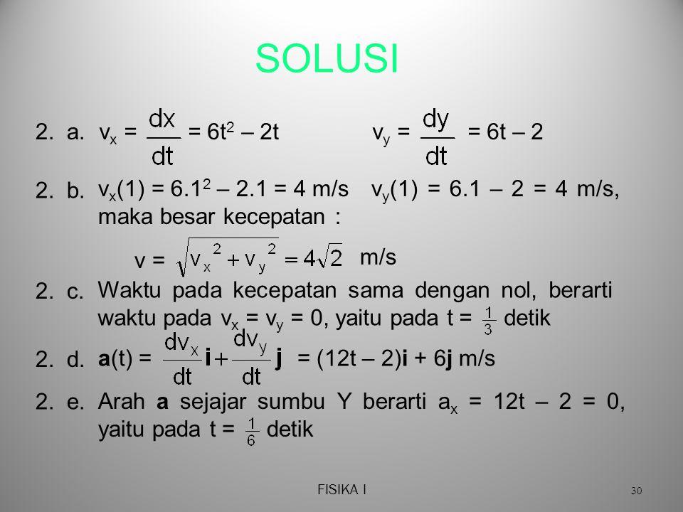 FISIKA I 30 SOLUSI 2.a.v x = = 6t 2 – 2tv y = = 6t – 2 2.