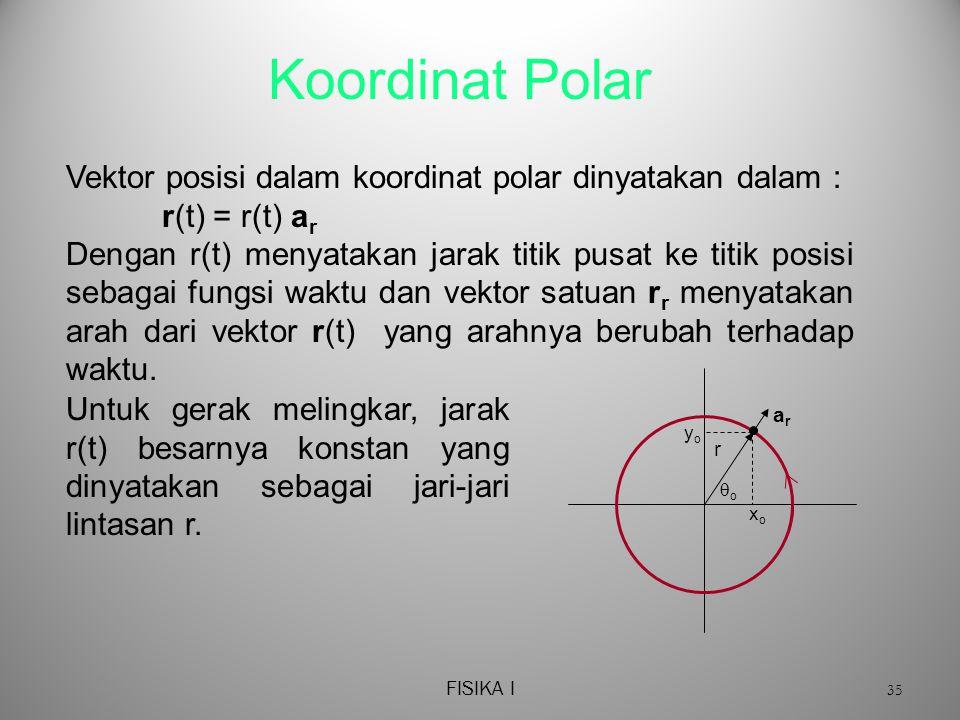 FISIKA I 35 Koordinat Polar Vektor posisi dalam koordinat polar dinyatakan dalam : r(t) = r(t) a r Dengan r(t) menyatakan jarak titik pusat ke titik posisi sebagai fungsi waktu dan vektor satuan r r menyatakan arah dari vektor r(t) yang arahnya berubah terhadap waktu.