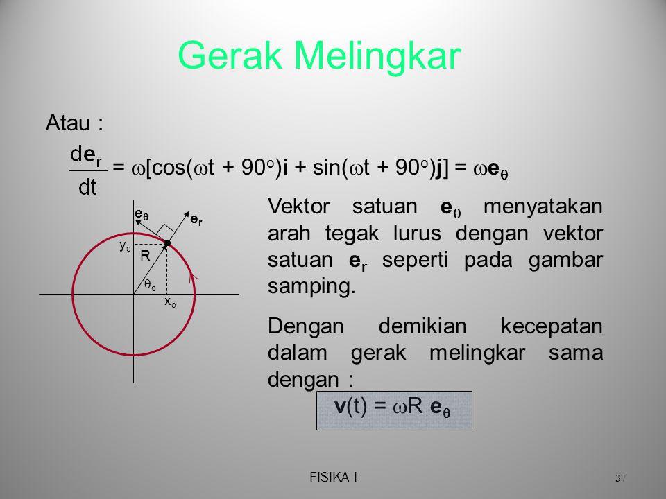 FISIKA I 37 Gerak Melingkar =  [cos(  t + 90 o )i + sin(  t + 90 o )j] =  e  Atau : R erer xoxo yoyo oo ee Vektor satuan e  menyatakan arah tegak lurus dengan vektor satuan e r seperti pada gambar samping.