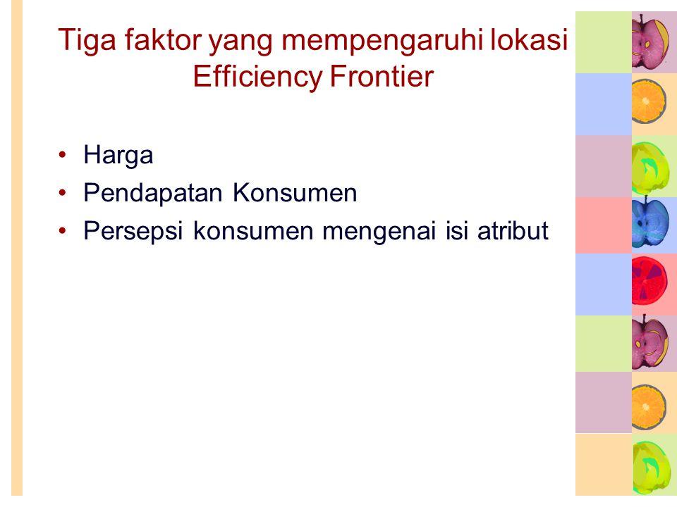 Tiga faktor yang mempengaruhi lokasi Efficiency Frontier •Harga •Pendapatan Konsumen •Persepsi konsumen mengenai isi atribut
