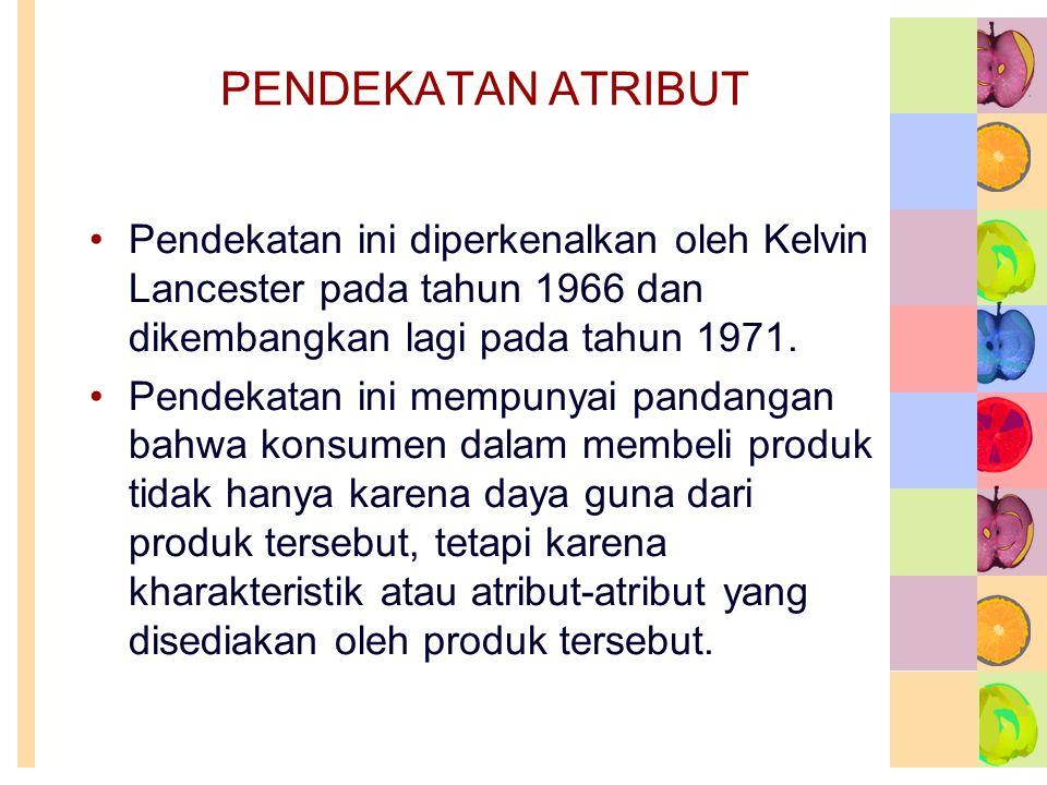 PENDEKATAN ATRIBUT •Pendekatan ini diperkenalkan oleh Kelvin Lancester pada tahun 1966 dan dikembangkan lagi pada tahun 1971. •Pendekatan ini mempunya