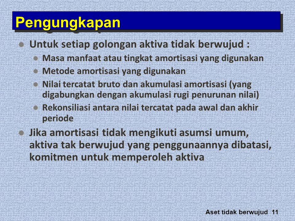 Aset tidak berwujud 11 PengungkapanPengungkapan  Untuk setiap golongan aktiva tidak berwujud :  Masa manfaat atau tingkat amortisasi yang digunakan