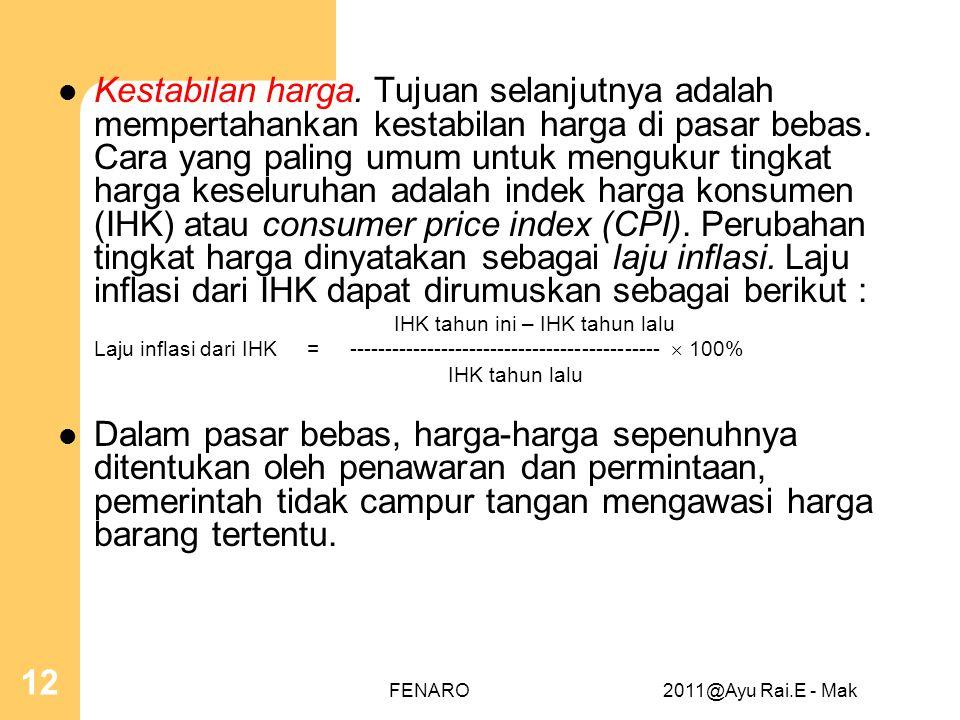  Kestabilan harga. Tujuan selanjutnya adalah mempertahankan kestabilan harga di pasar bebas. Cara yang paling umum untuk mengukur tingkat harga kesel