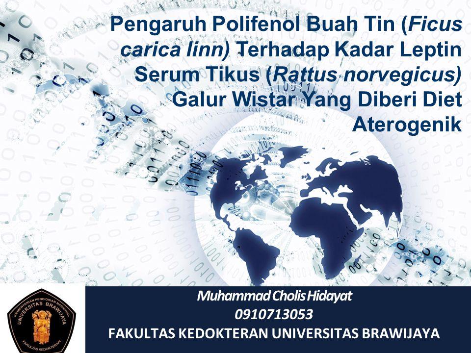 Muhammad Cholis Hidayat 0910713053 FAKULTAS KEDOKTERAN UNIVERSITAS BRAWIJAYA Pengaruh Polifenol Buah Tin (Ficus carica linn) Terhadap Kadar Leptin Ser