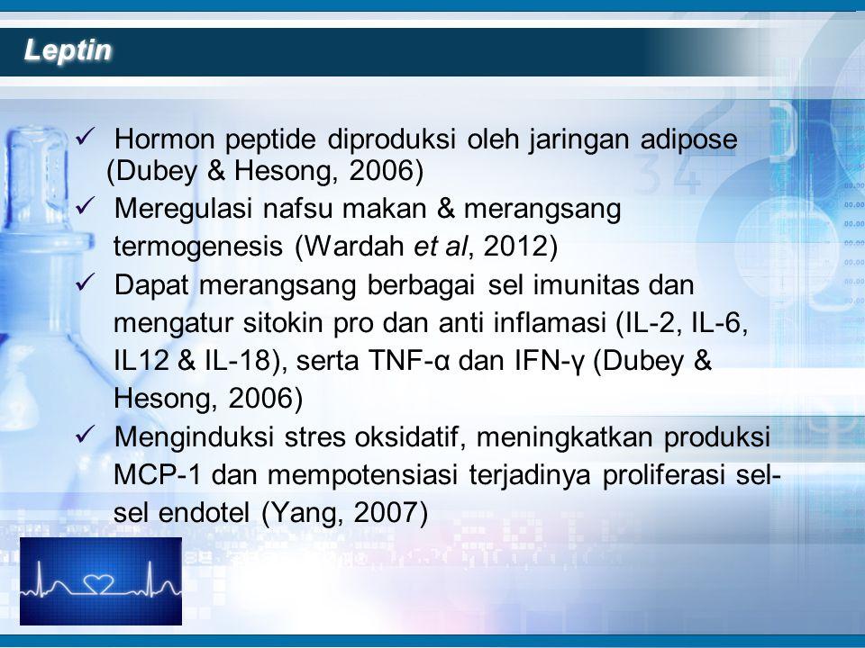  Hormon peptide diproduksi oleh jaringan adipose (Dubey & Hesong, 2006)  Meregulasi nafsu makan & merangsang termogenesis (Wardah et al, 2012)  Dap