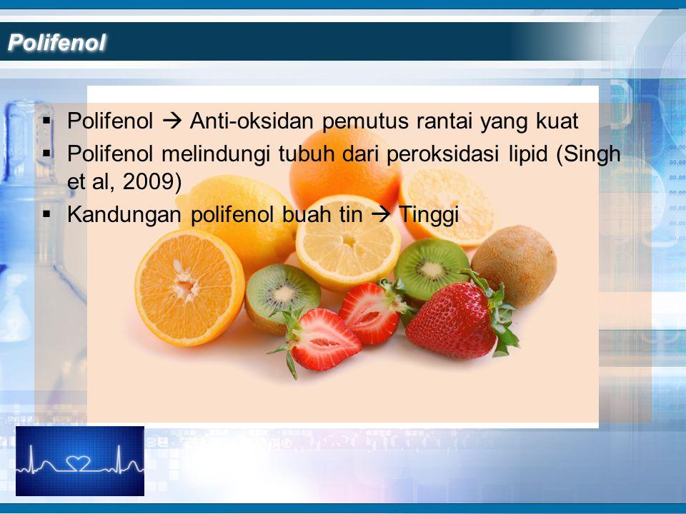  Polifenol  Anti-oksidan pemutus rantai yang kuat  Polifenol melindungi tubuh dari peroksidasi lipid (Singh et al, 2009)  Kandungan polifenol buah