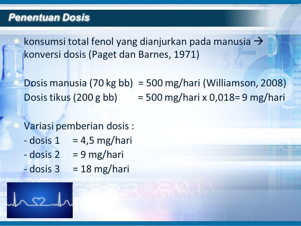 konsumsi total fenol yang dianjurkan pada manusia  konversi dosis (Paget dan Barnes, 1971) Dosis manusia (70 kg bb) = 500 mg/hari (Williamson, 2008)