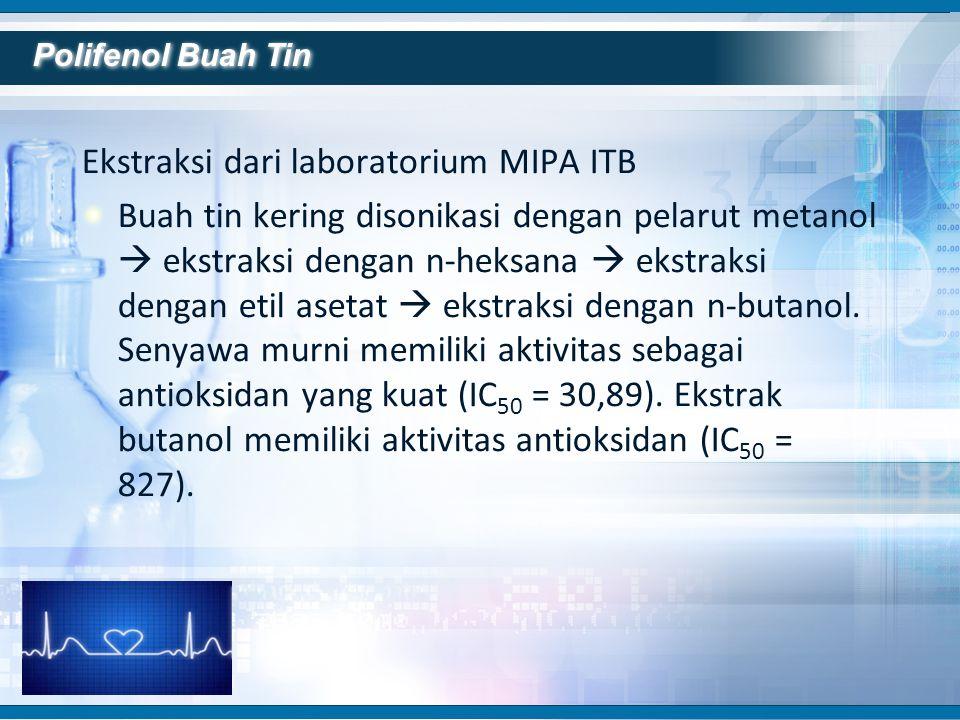 Ekstraksi dari laboratorium MIPA ITB Buah tin kering disonikasi dengan pelarut metanol  ekstraksi dengan n-heksana  ekstraksi dengan etil asetat  e