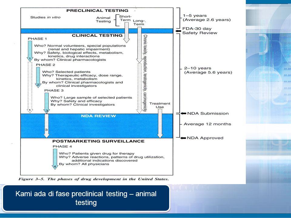 Kami ada di fase preclinical testing – animal testing