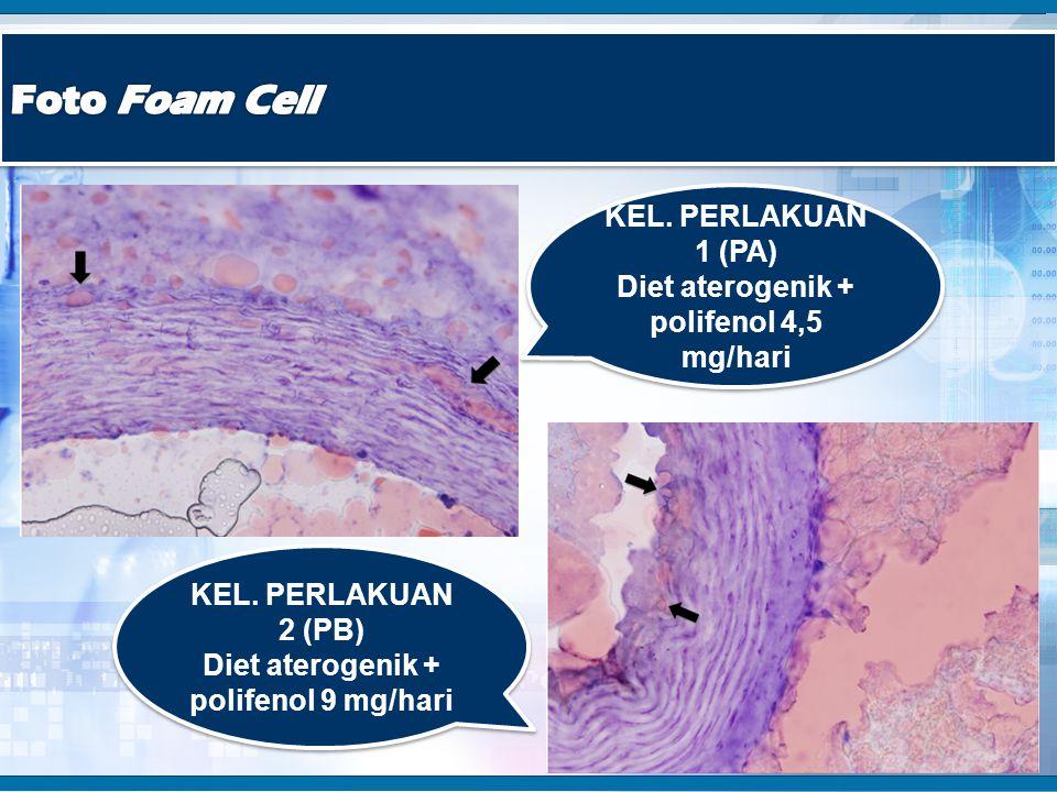 KEL. PERLAKUAN 1 (PA) Diet aterogenik + polifenol 4,5 mg/hari KEL. PERLAKUAN 1 (PA) Diet aterogenik + polifenol 4,5 mg/hari KEL. PERLAKUAN 2 (PB) Diet