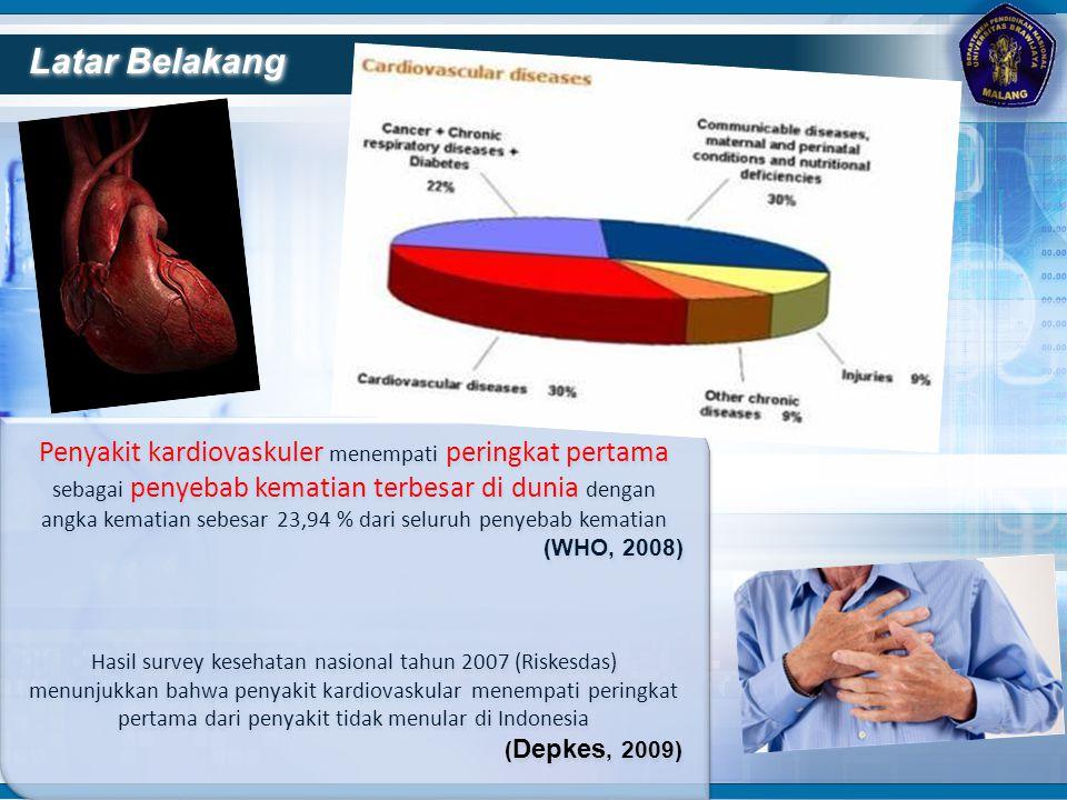 Latar Belakang Penyakit kardiovaskuler menempati peringkat pertama sebagai penyebab kematian terbesar di dunia dengan angka kematian sebesar 23,94 % d