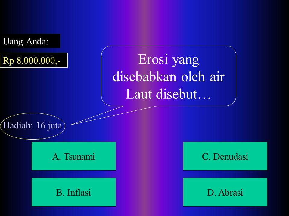 A. Sulawesi UtaraC. Irian B. NTTD. Maluku Lagu Tutu Koda Berasal Dari Daerah… Uang Anda: Rp 4.000.000,- Hadiah: 8 juta