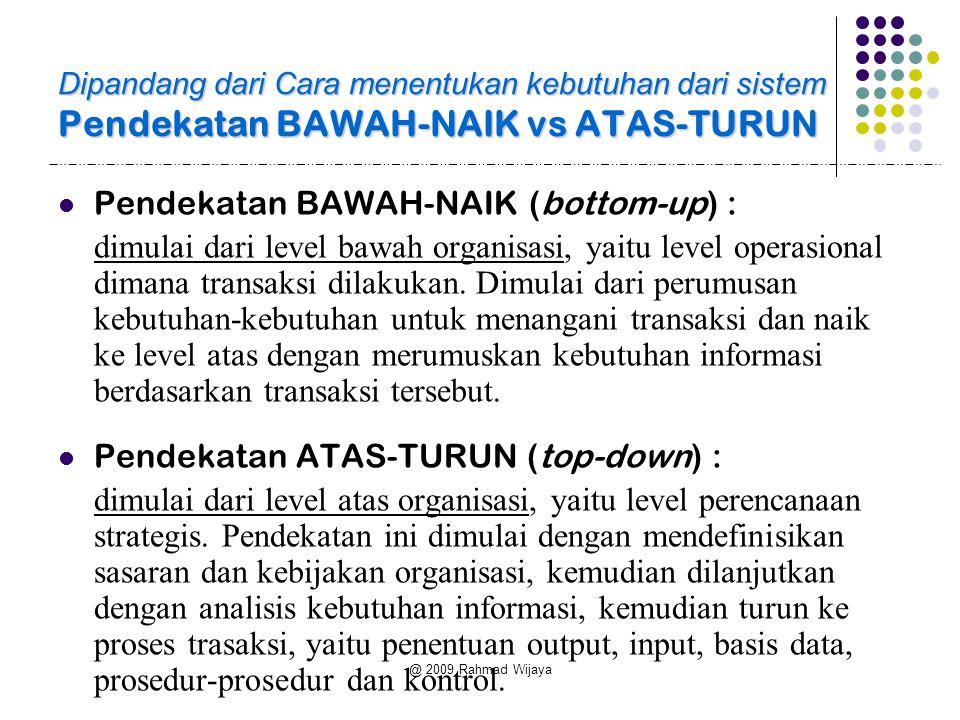 @ 2009 Rahmad Wijaya Dipandang dari Cara menentukan kebutuhan dari sistem Pendekatan BAWAH-NAIK vs ATAS-TURUN  Pendekatan BAWAH-NAIK (bottom-up) : di