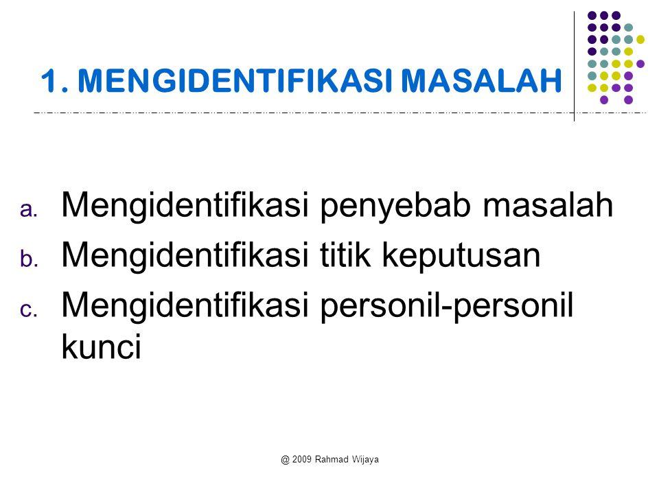 @ 2009 Rahmad Wijaya 1. MENGIDENTIFIKASI MASALAH a. Mengidentifikasi penyebab masalah b. Mengidentifikasi titik keputusan c. Mengidentifikasi personil
