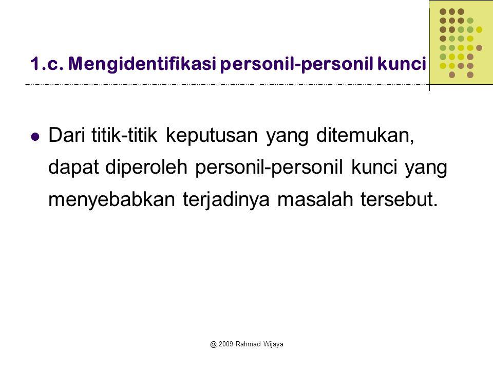 @ 2009 Rahmad Wijaya 1.c. Mengidentifikasi personil-personil kunci  Dari titik-titik keputusan yang ditemukan, dapat diperoleh personil-personil kunc