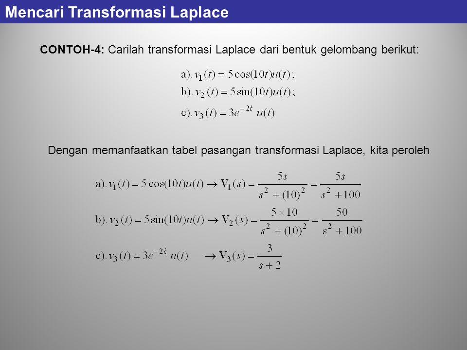 CONTOH-4: Carilah transformasi Laplace dari bentuk gelombang berikut: Mencari Transformasi Laplace Dengan memanfaatkan tabel pasangan transformasi Lap
