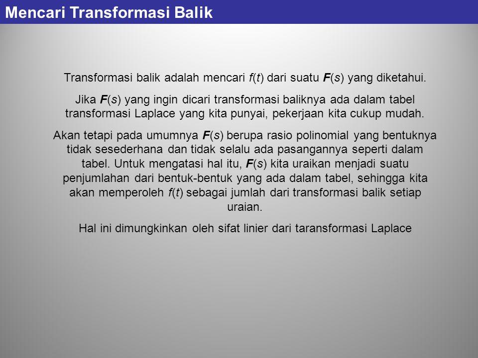 Transformasi balik adalah mencari f(t) dari suatu F(s) yang diketahui. Jika F(s) yang ingin dicari transformasi baliknya ada dalam tabel transformasi