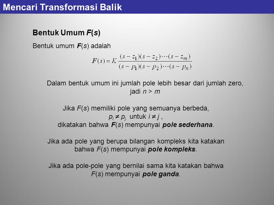 Bentuk Umum F(s) Bentuk umum F(s) adalah Jika F(s) memiliki pole yang semuanya berbeda, p i  p j untuk i  j, dikatakan bahwa F(s) mempunyai pole sed