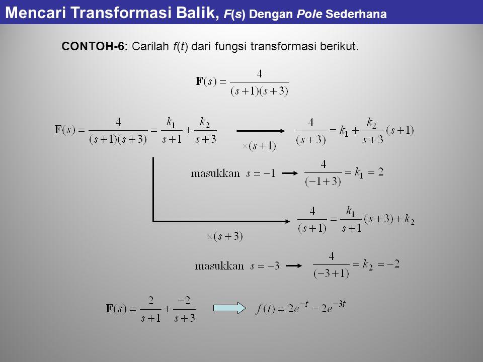 CONTOH-6: Carilah f(t) dari fungsi transformasi berikut. Mencari Transformasi Balik, F(s) Dengan Pole Sederhana