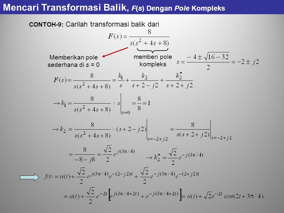 CONTOH-9: Carilah transformasi balik dari Memberikan pole sederhana di s = 0 Mencari Transformasi Balik, F(s) Dengan Pole Kompleks memberi pole komple