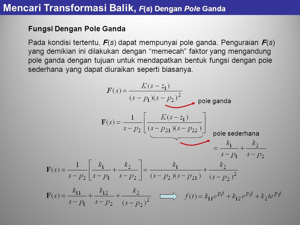 """Fungsi Dengan Pole Ganda Pada kondisi tertentu, F(s) dapat mempunyai pole ganda. Penguraian F(s) yang demikian ini dilakukan dengan """"memecah"""" faktor y"""