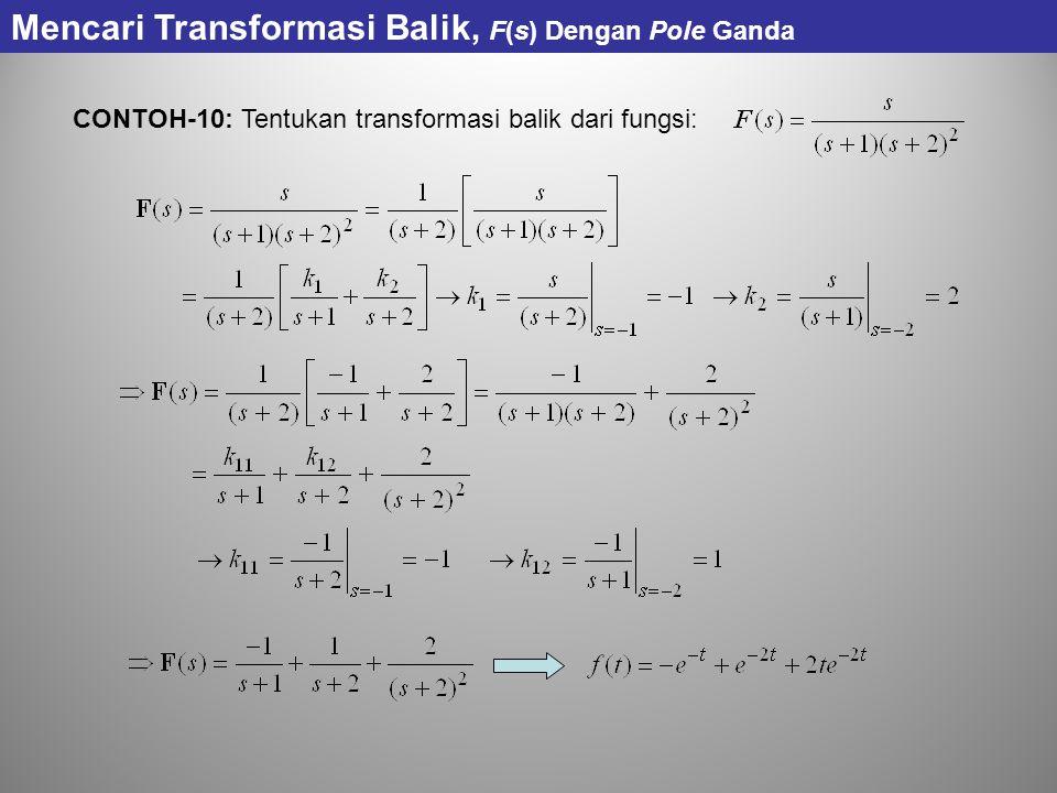 CONTOH-10: Tentukan transformasi balik dari fungsi: Mencari Transformasi Balik, F(s) Dengan Pole Ganda