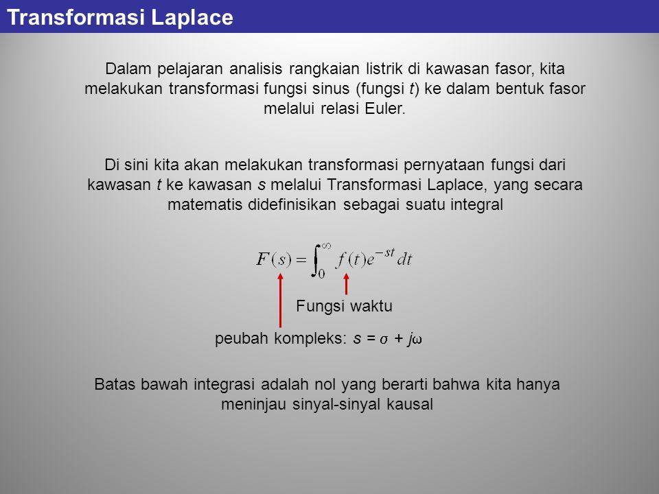 Di sini kita akan melakukan transformasi pernyataan fungsi dari kawasan t ke kawasan s melalui Transformasi Laplace, yang secara matematis didefinisik