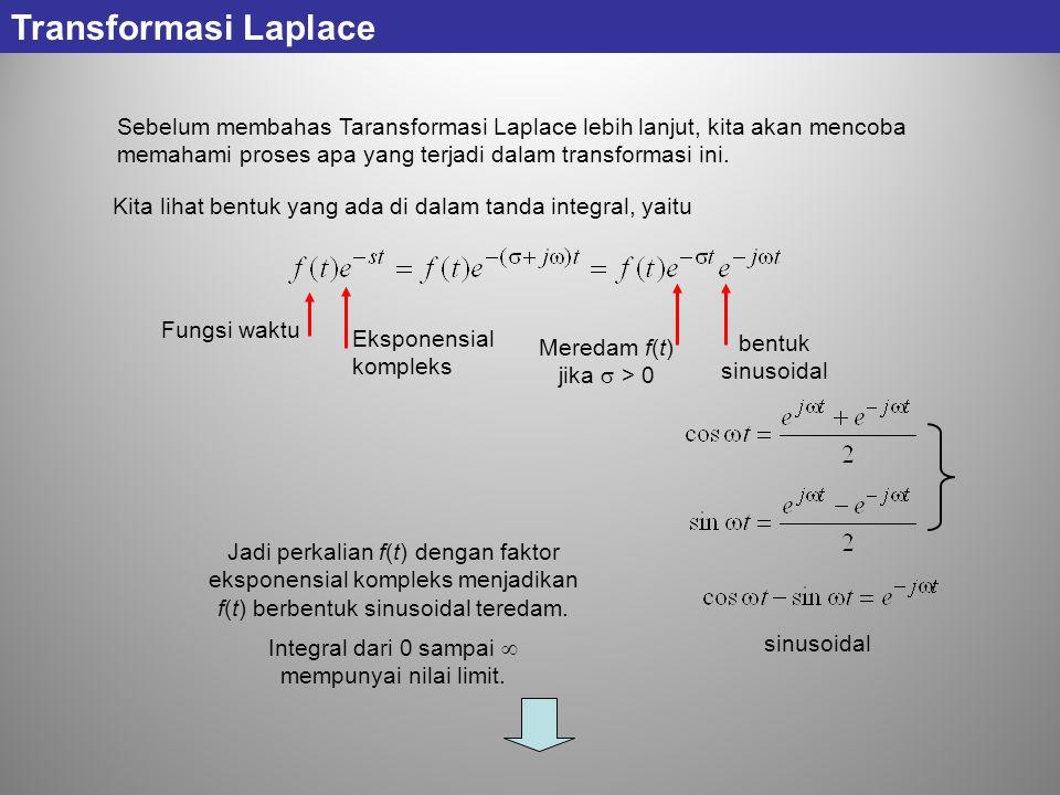 Transformasi Laplace Sebelum membahas Taransformasi Laplace lebih lanjut, kita akan mencoba memahami proses apa yang terjadi dalam transformasi ini. K