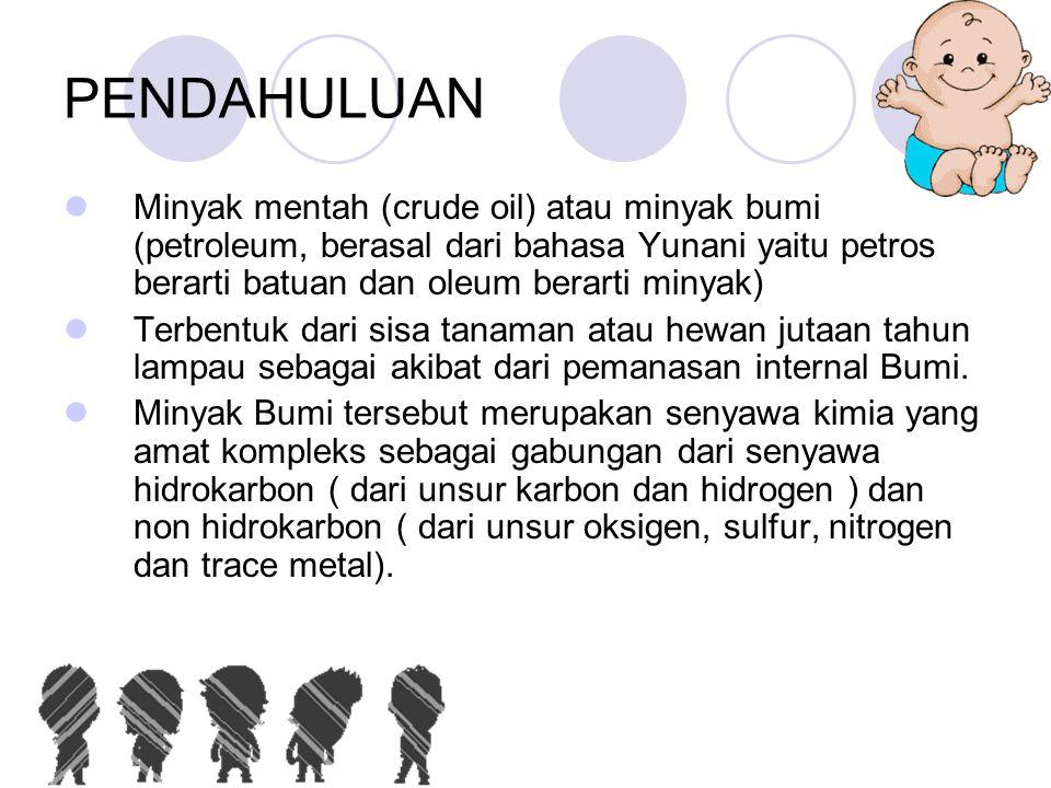 PENDAHULUAN  Minyak mentah (crude oil) atau minyak bumi (petroleum, berasal dari bahasa Yunani yaitu petros berarti batuan dan oleum berarti minyak)